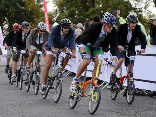 The competition heats in blazers and ties at the Eastbourne Cycling Festival.