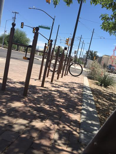 My 2yrs old view from the trailer, summertime bike racks in Tucson