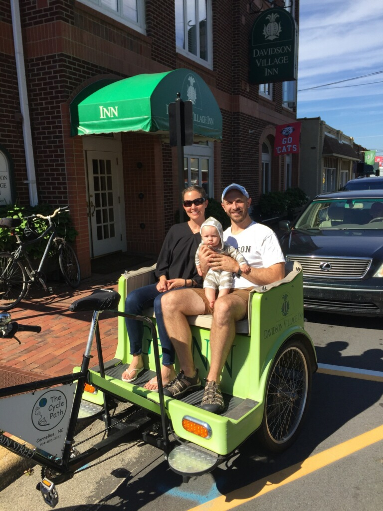 Getting a pedicab tour of Davidson College, my husband's alma mater, earlier this month.