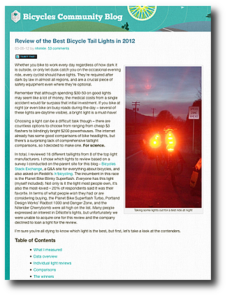Review of the Best Bicycle Tail Lights in 2012