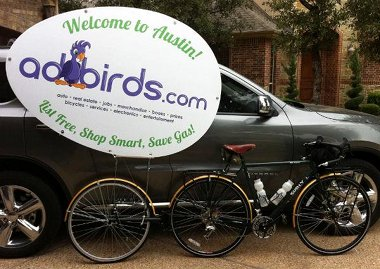 Multi-task and get creative with your bike trailers! Randall uses his Extrawheel to advertise.