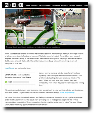 Sound Safety: 'Loud Bicycle' Horn Lets You Honk Like a Car | Wired Design | Wired.com